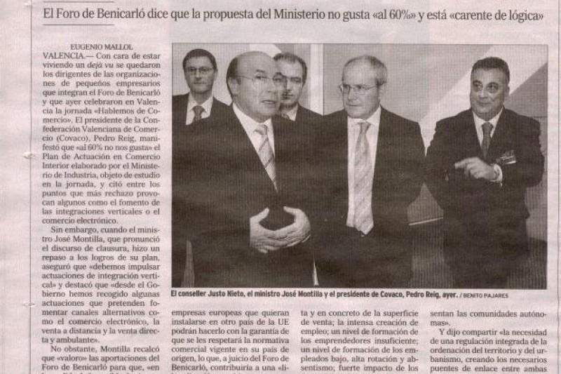 Artículo sobre el Ministro de Comercio en el foro de Benicarló